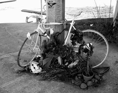 Ghost bike for Brett Jarolimek. Interstate and Greely