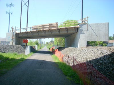 light rail overpass across springwater corridor