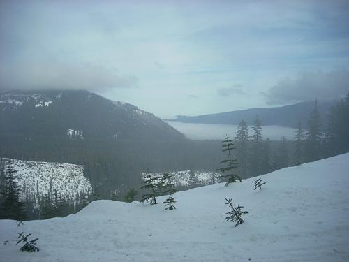 Fog covered valley from Bennett Pass