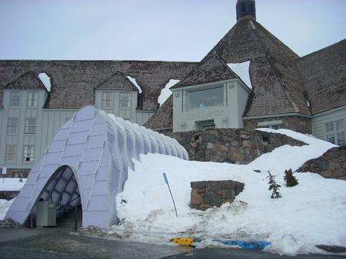 New walkway into Timberline Lodge