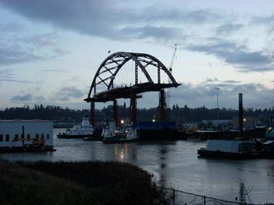 New Sauvie Island Bridge Span at the Terminal 2 dock in early morning
